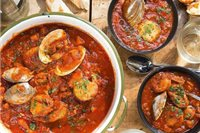 Famous San Francisco seafood stew called cioppino